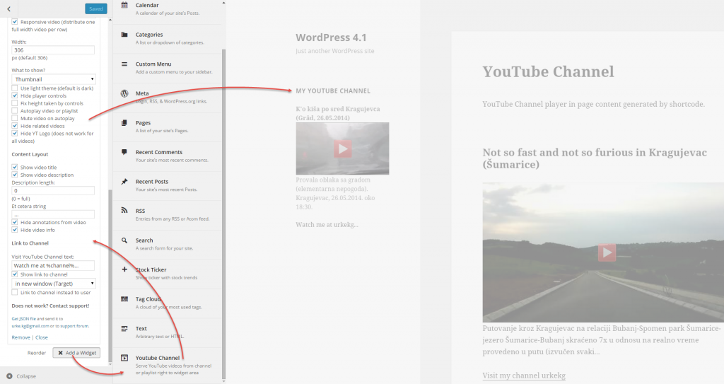 YouTube Channel 2.4.1 Widget in Customizer