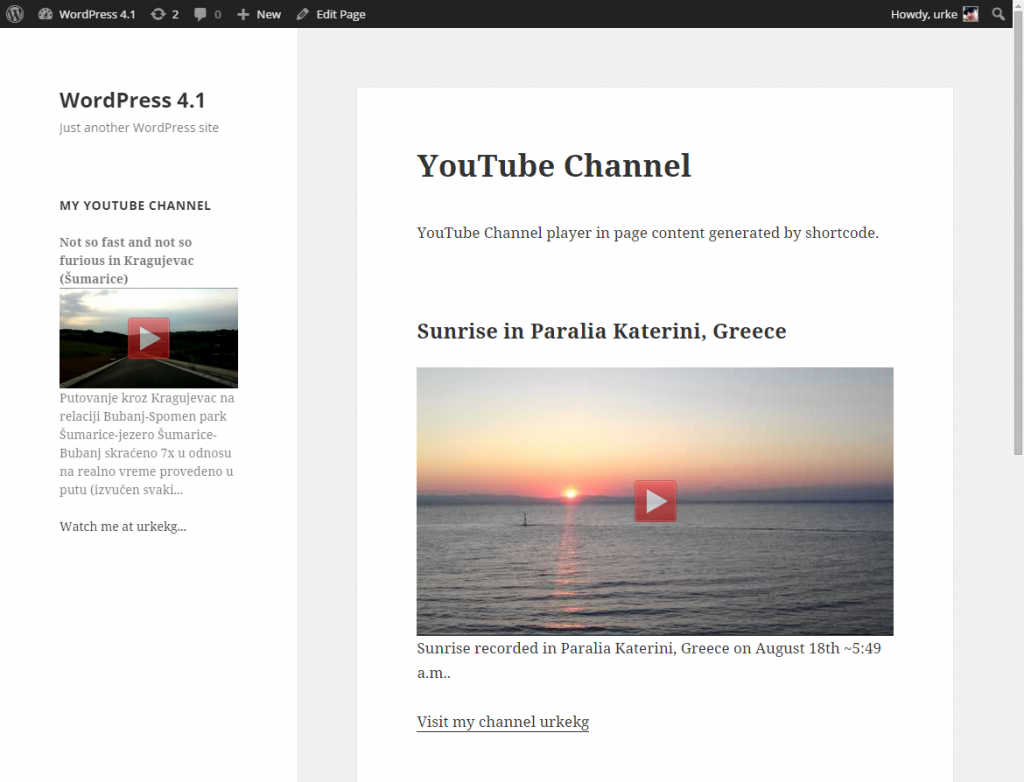 YouTube Channel 2.4.1 preview (in widget and in page content)