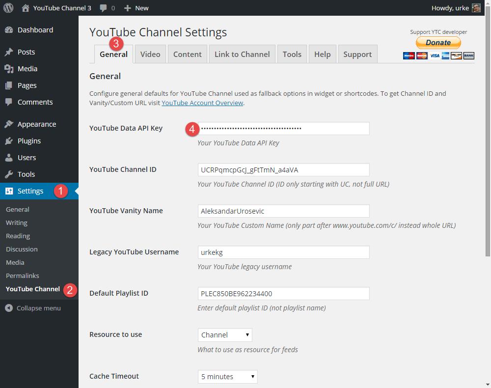 YouTube Channel 3: Add Data API Key