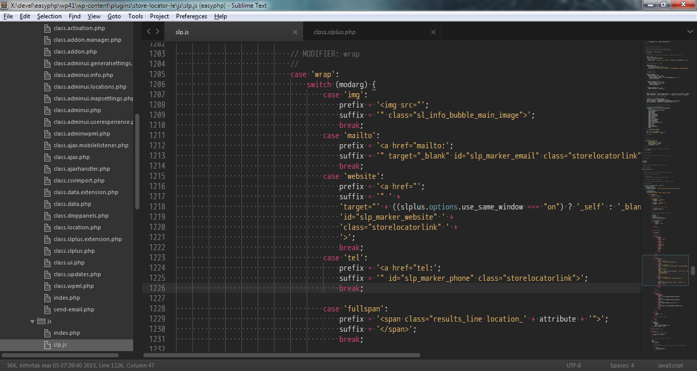 Editing slp.js for Store Locator Plus in Sublime Text 3