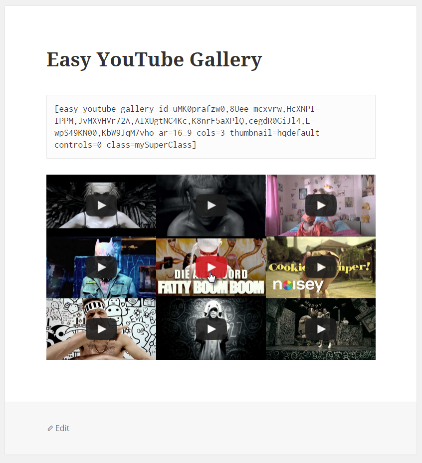 Easy YouTube Gallery preview