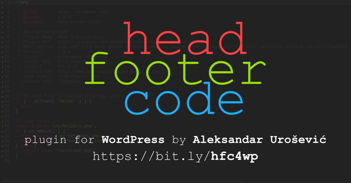 Head & Footer Code | Urosevic DevYard