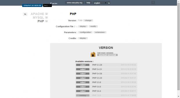 EasyPHP DevServer 14.1 VC11: PHP 7.0.0
